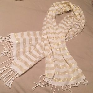 Accessories - Metallic Gold and White Scarf